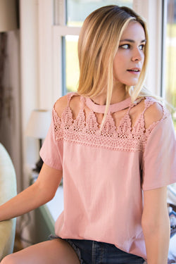 Buy Cotton Jersey Opened Trim Front Knit Top Rose online at Southern Fashion Boutique Bliss