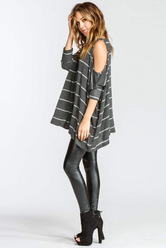 Buy Cold Shoulder Round Neck 3/4 Sleeve Top Charcoal online at Southern Fashion Boutique Bliss