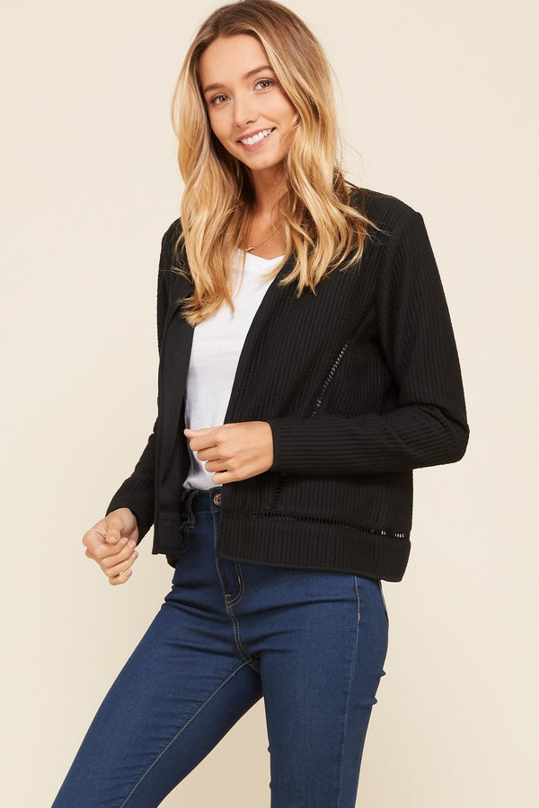 Buy Knit Lace Insert Long Sleeve Quilted Jacket Black online at Southern Fashion Boutique Bliss