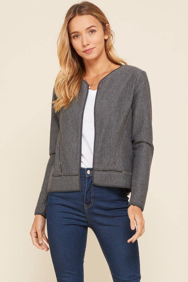 Buy Knit Lace Insert Long Sleeve Quilted Jacket Charcoal online at Southern Fashion Boutique Bliss