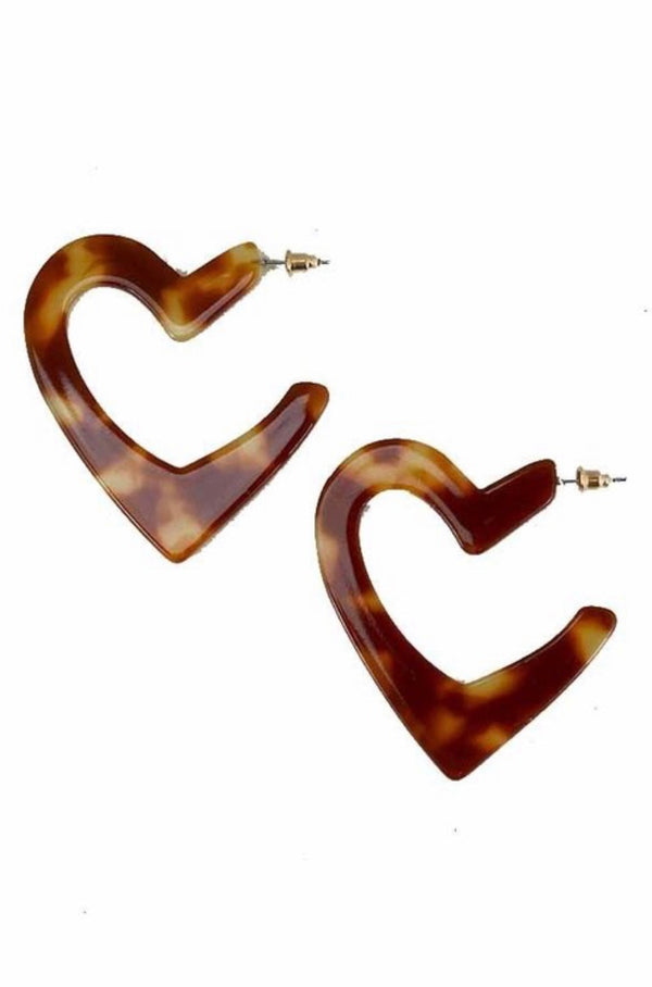 Buy Acrylic Heart Shaped Earrings Brown online at Southern Fashion Boutique Bliss