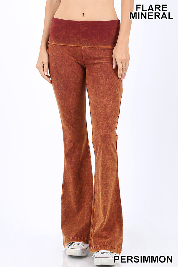 Buy Mineral Washed Flare Bottom Yoga Pants Persimmon online at Southern Fashion Boutique Bliss