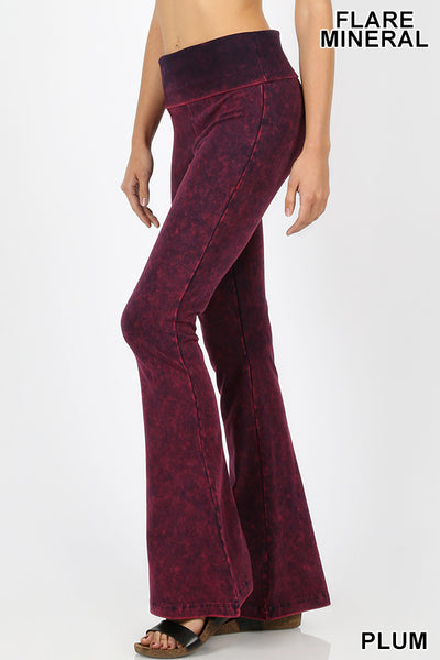 Buy Mineral Washed Flare Bottom Yoga Pants Plum online at Southern Fashion Boutique Bliss