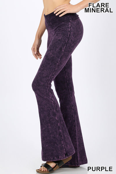 Buy Mineral Washed Flare Bottom Yoga Pants Purple online at Southern Fashion Boutique Bliss