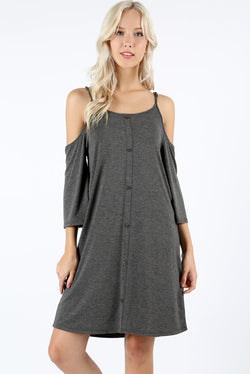 Buy Open Shoulder Button Dress Charcoal online at Southern Fashion Boutique Bliss