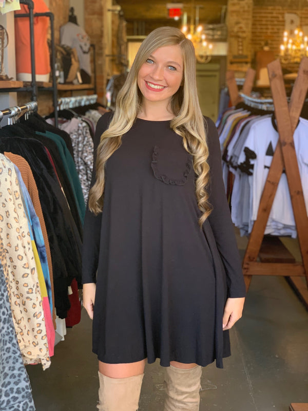 Buy Solid Tee Dress with Ruffle Pocket Black online at Southern Fashion Boutique Bliss