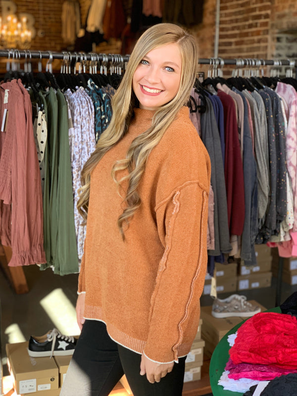 Buy Mock Neck Oversized Sweater Caramel online at Southern Fashion Boutique Bliss