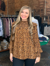 Buy Leopard Smocked Blouse Top Mocha online at Southern Fashion Boutique Bliss
