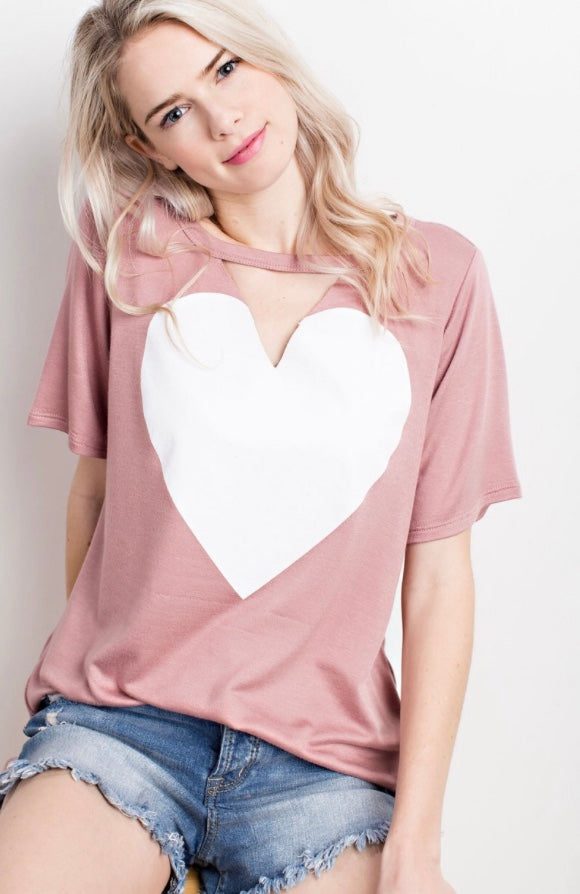 Buy Short Sleeve Keyhole Heart Print Shirt Mauve online at Southern Fashion Boutique Bliss