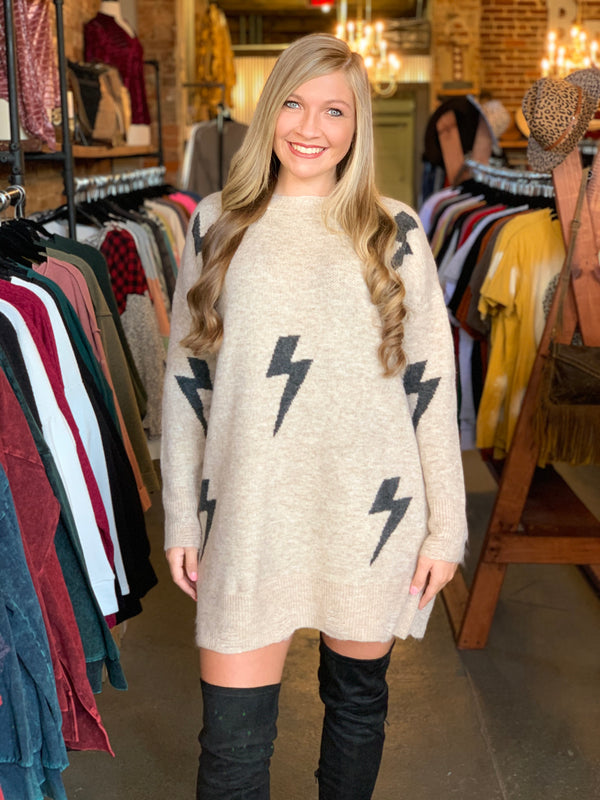 Lighting Patterned Sweater Dress Khaki