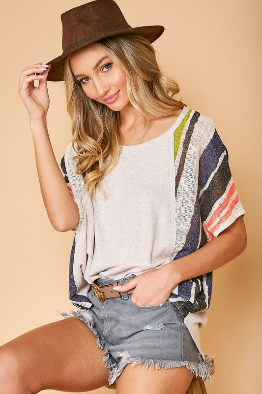 Buy Solid Knit Top With Stripe Print Oatmeal online at Southern Fashion Boutique Bliss