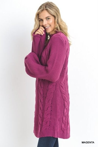 Buy Mock Neck Sweater Bubble Sleeves Magenta online at Southern Fashion Boutique Bliss