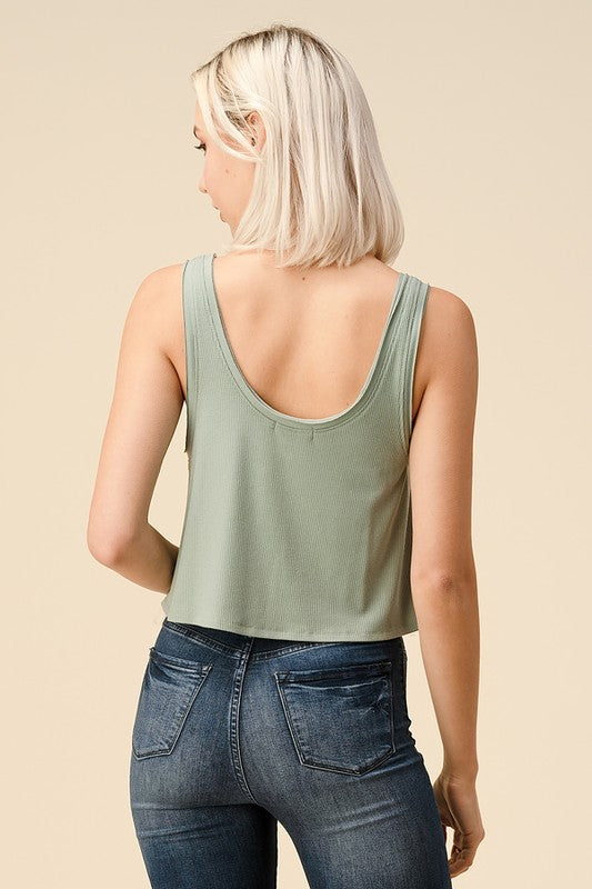 Ribbed Scoop Neck Tank Sage