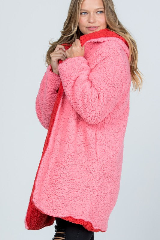 Oversized Teddy Faux Fur Jacket Pink