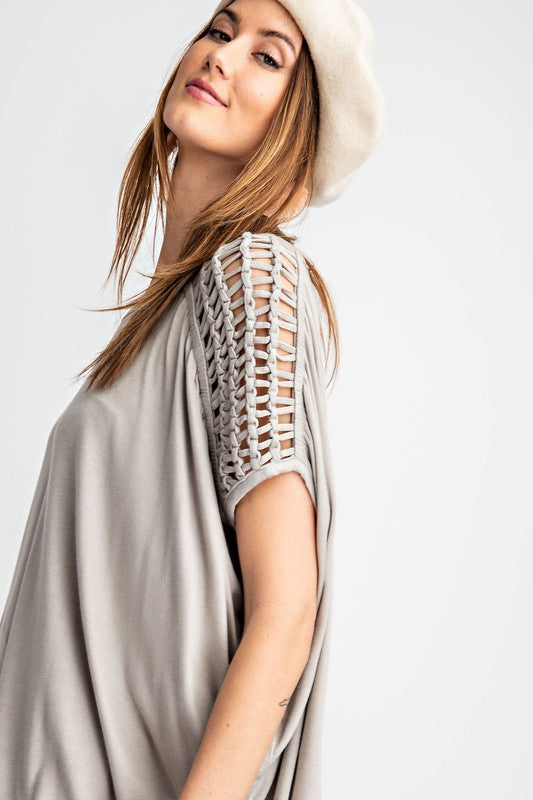 Buy Self Braided Shoulder Knit Top Grey online at Southern Fashion Boutique Bliss