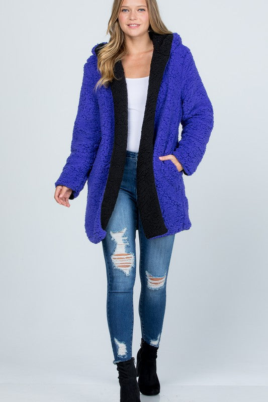 Oversized Teddy Faux Fur Jacket Purple