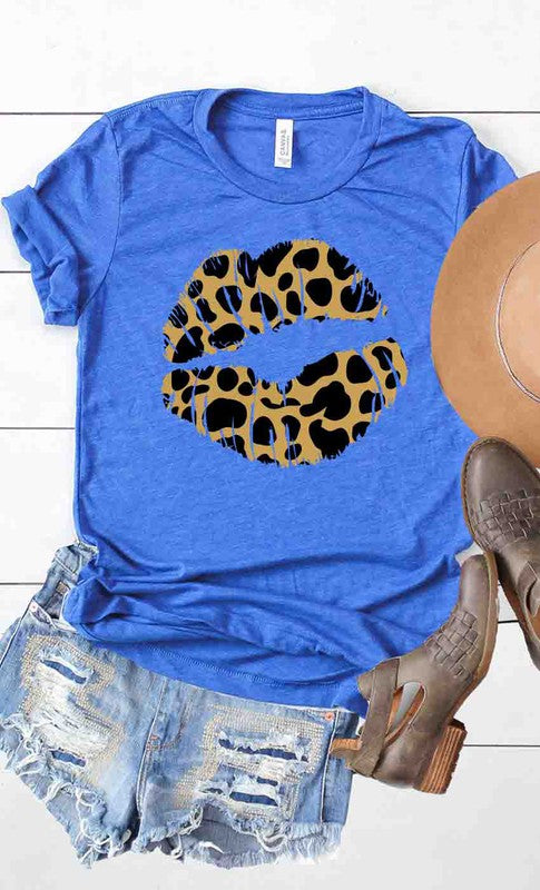 Buy Leopard Lips Graphic Tee Royal online at Southern Fashion Boutique Bliss