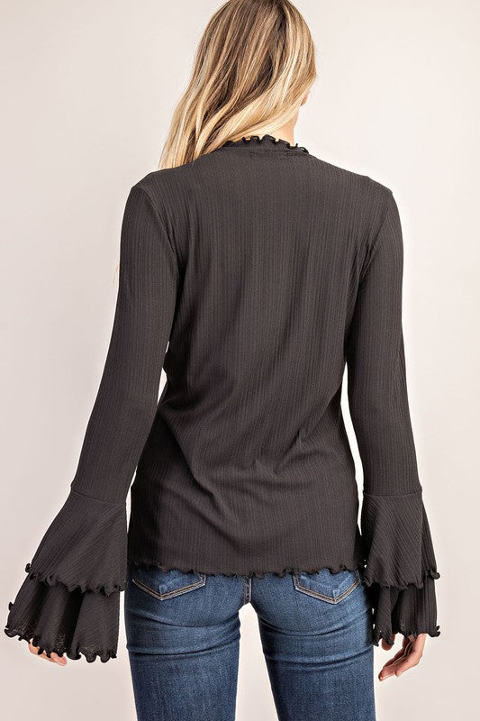 Ruffle Bell Sleeve Top Black