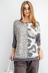 Buy Leopard Print Front Boxy Knit Top Ash online at Southern Fashion Boutique Bliss