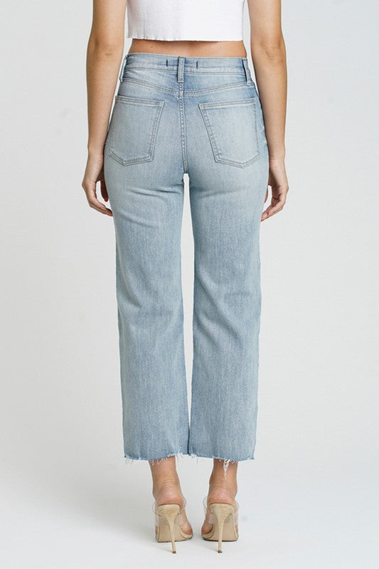 High Rise Wide Leg Crop Jeans Light