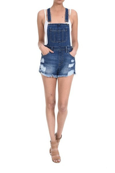 Buy Distressed Overall Shorts Dark Denim online at Southern Fashion Boutique Bliss