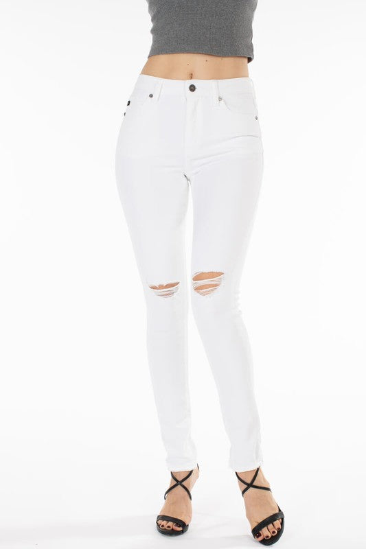 High Rise Distressed Super Skinny White