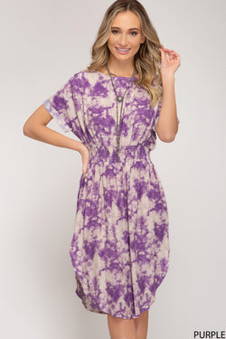Drop Shoulder Woven Dress Purple