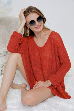 Solid V-Neck Loose Fit Sweater Red - Athens Georgia Women's Fashion Boutique