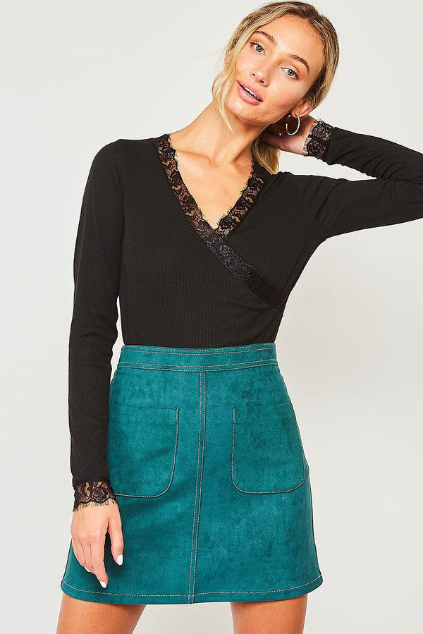 Solid Knit Skirt w/Pocket Hunter Green - Athens Georgia Women's Fashion Boutique