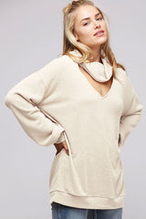 Buy Hacci Top Cutout Turtle Neck Oatmeal online at Southern Fashion Boutique Bliss