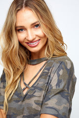 Buy Mock Neck Camo Print Top w/Front Crisscross online at Southern Fashion Boutique Bliss