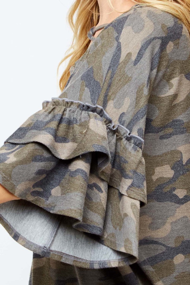 Buy Double Ruffle Bell Sleeve Camo Print Top Olive online at Southern Fashion Boutique Bliss