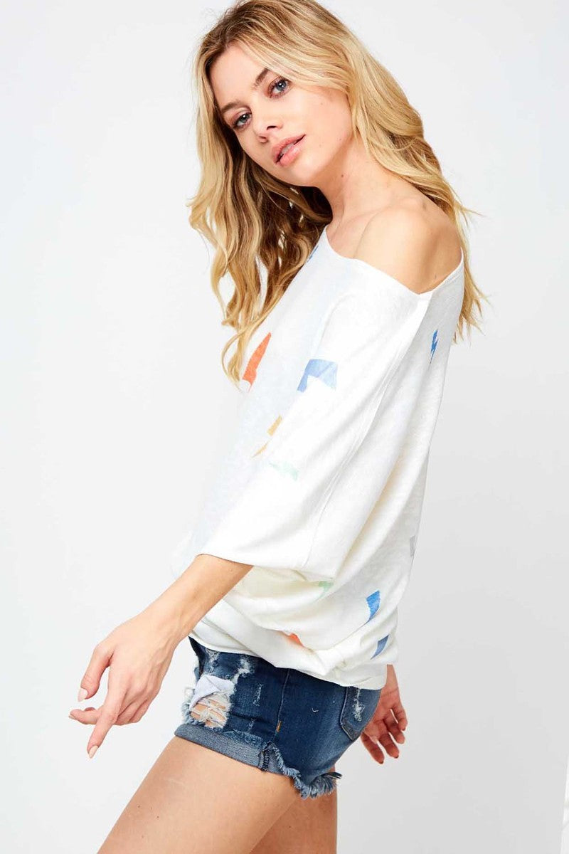 Buy Thunderbolt Print 3/4 Sleeve Top Off White online at Southern Fashion Boutique Bliss