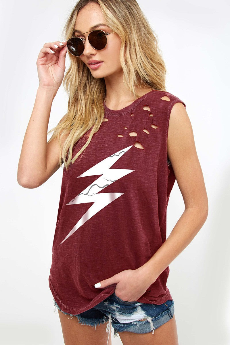 Buy Sleeveless Distressed Cracked Bolt Graphic Top Merlot online at Southern Fashion Boutique Bliss