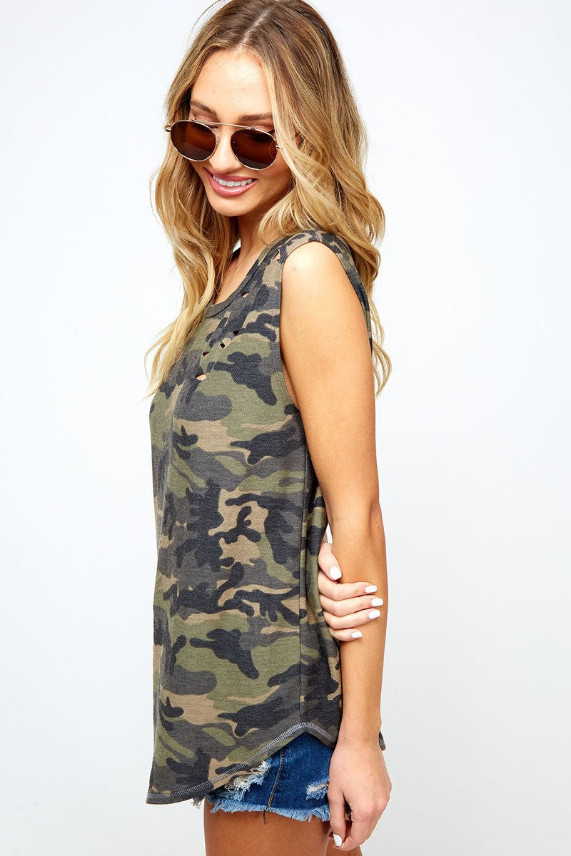 Buy Destroyed Detail Camo Print Tank Top Olive online at Southern Fashion Boutique Bliss