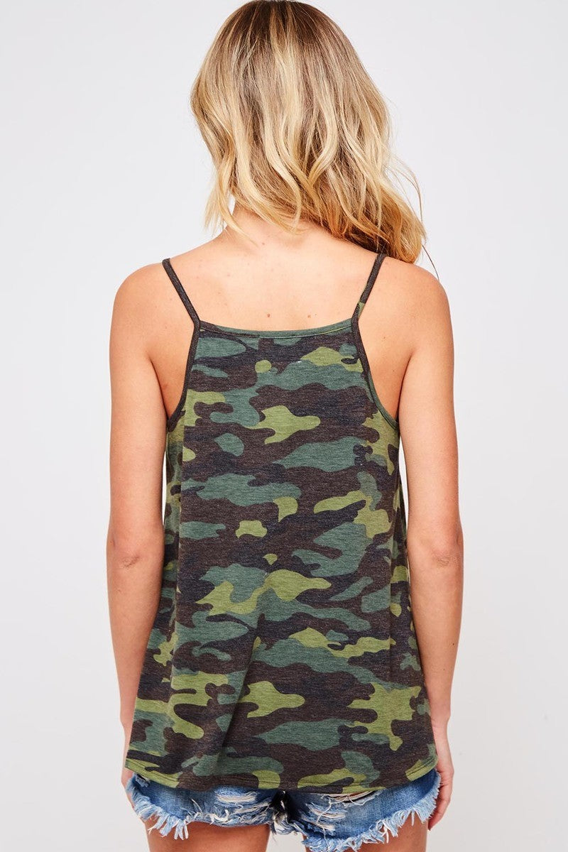 Buy Camo Print Front Button Tank Top online at Southern Fashion Boutique Bliss