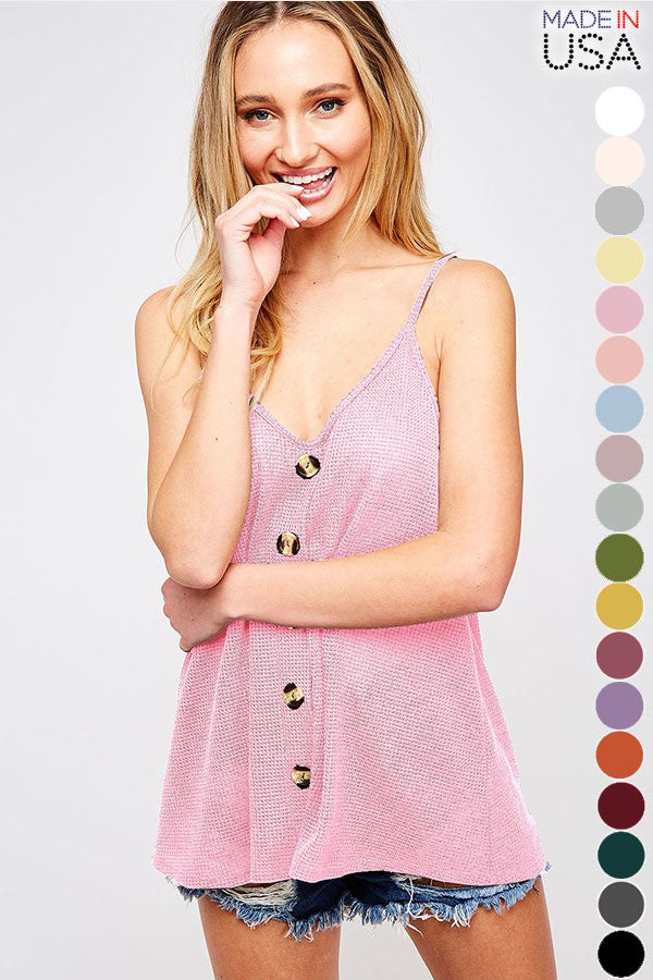 Buy Solid Tank Top with Front Buttons Blush online at Southern Fashion Boutique Bliss