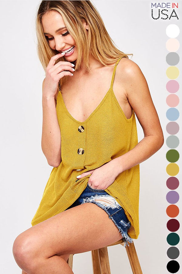 Buy Solid Tank Top with Front Buttons Mustard online at Southern Fashion Boutique Bliss