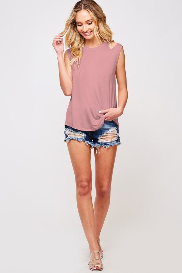 Buy Sleeveless Jersey Knit Tank Top Mauve online at Southern Fashion Boutique Bliss