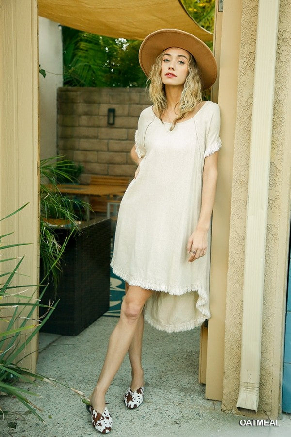 Buy Linen Blend Pocket Dress with Fringe Oatmeal online at Southern Fashion Boutique Bliss