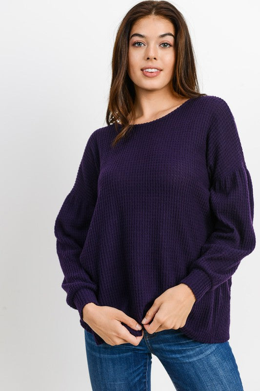 Buy Brushed Thermal Open Back Top Purple online at Southern Fashion Boutique Bliss