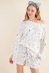 Buy Splashed Multi-Dot Boat Neck Top Cream online at Southern Fashion Boutique Bliss