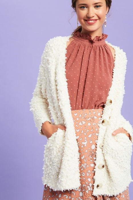 Buy Popcorn Button Down Knit Cardigan Ivory online at Southern Fashion Boutique Bliss