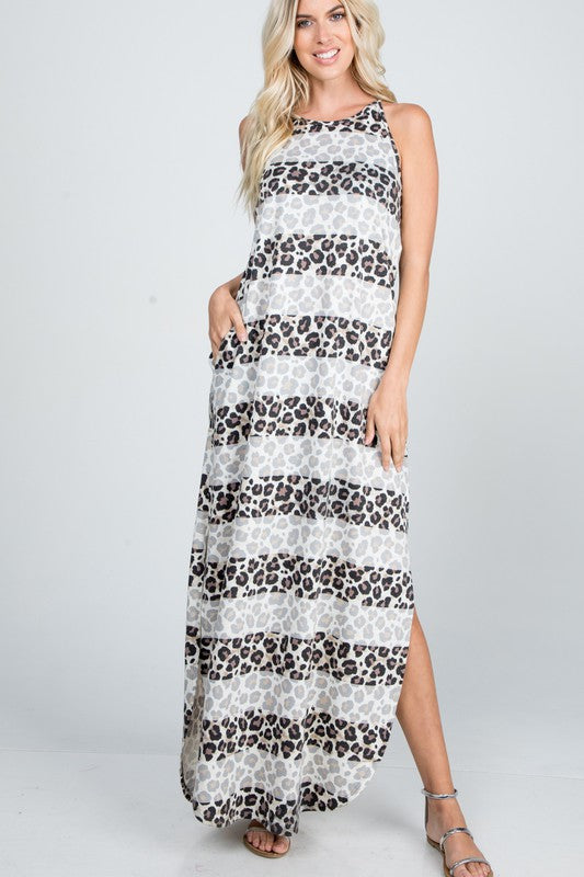 Leopard Maxi Dress with Side Slit Ivory