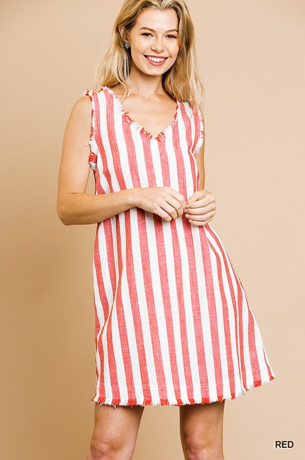 Striped V-Neck Shift Dress Red