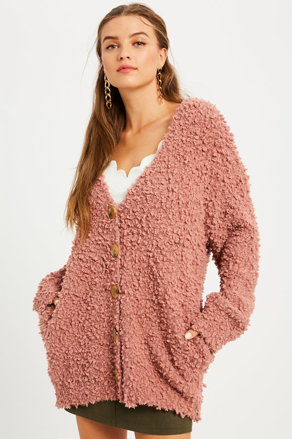 Popcorn Button Down Knit Cardigan Ash Rose - Athens Georgia Women's Fashion Boutique