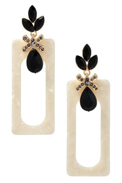 Buy Stone Cluster with Rectangle Acrylic Drop Earrings Ivory online at Southern Fashion Boutique Bliss