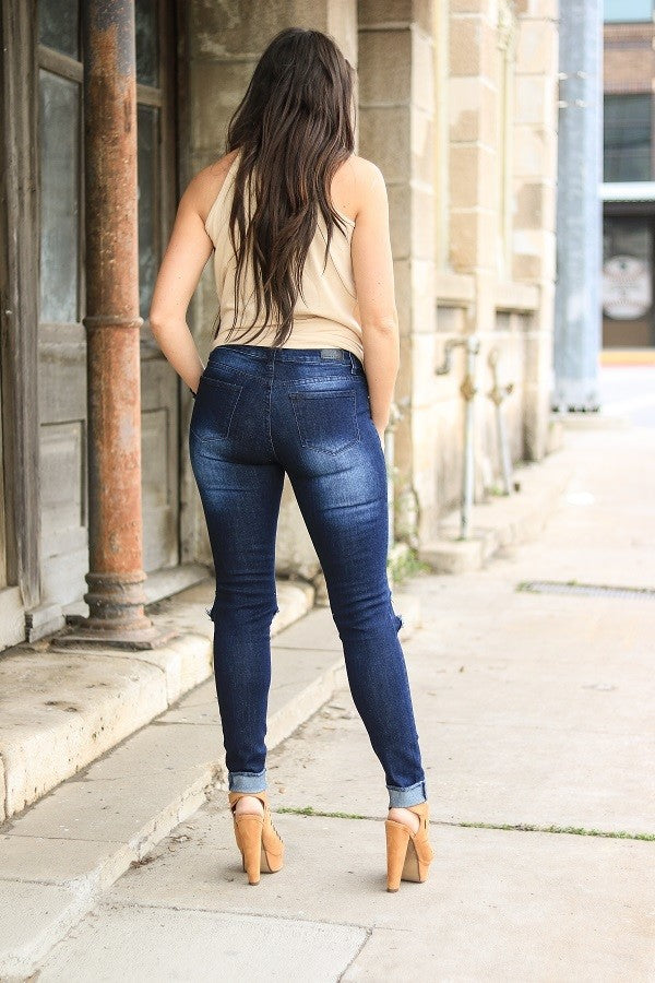 Buy Distressed Ripped Denim Skinny Jeans online at Southern Fashion Boutique Bliss