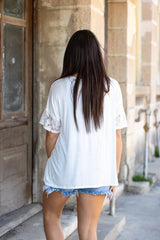 Buy Short Sleeve V-Neck Keyhole Top Ivory online at Southern Fashion Boutique Bliss