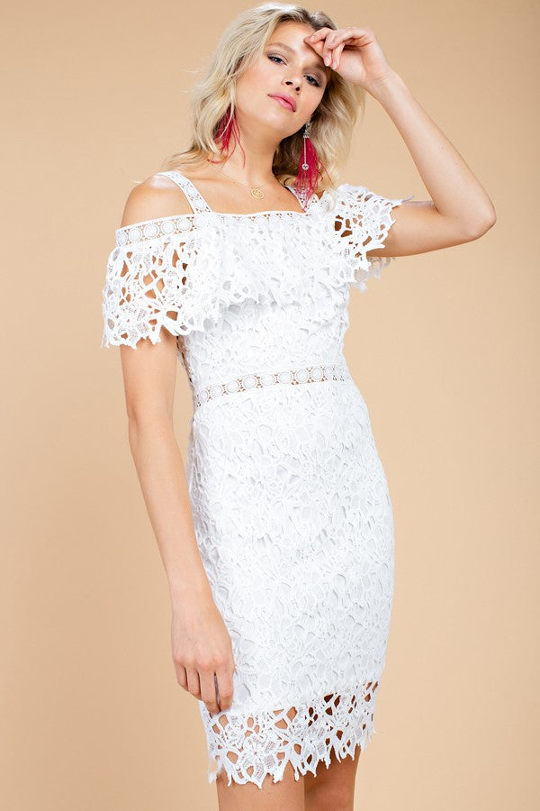 Buy Crochet Lace Off Shoulder Dress White online at Southern Fashion Boutique Bliss